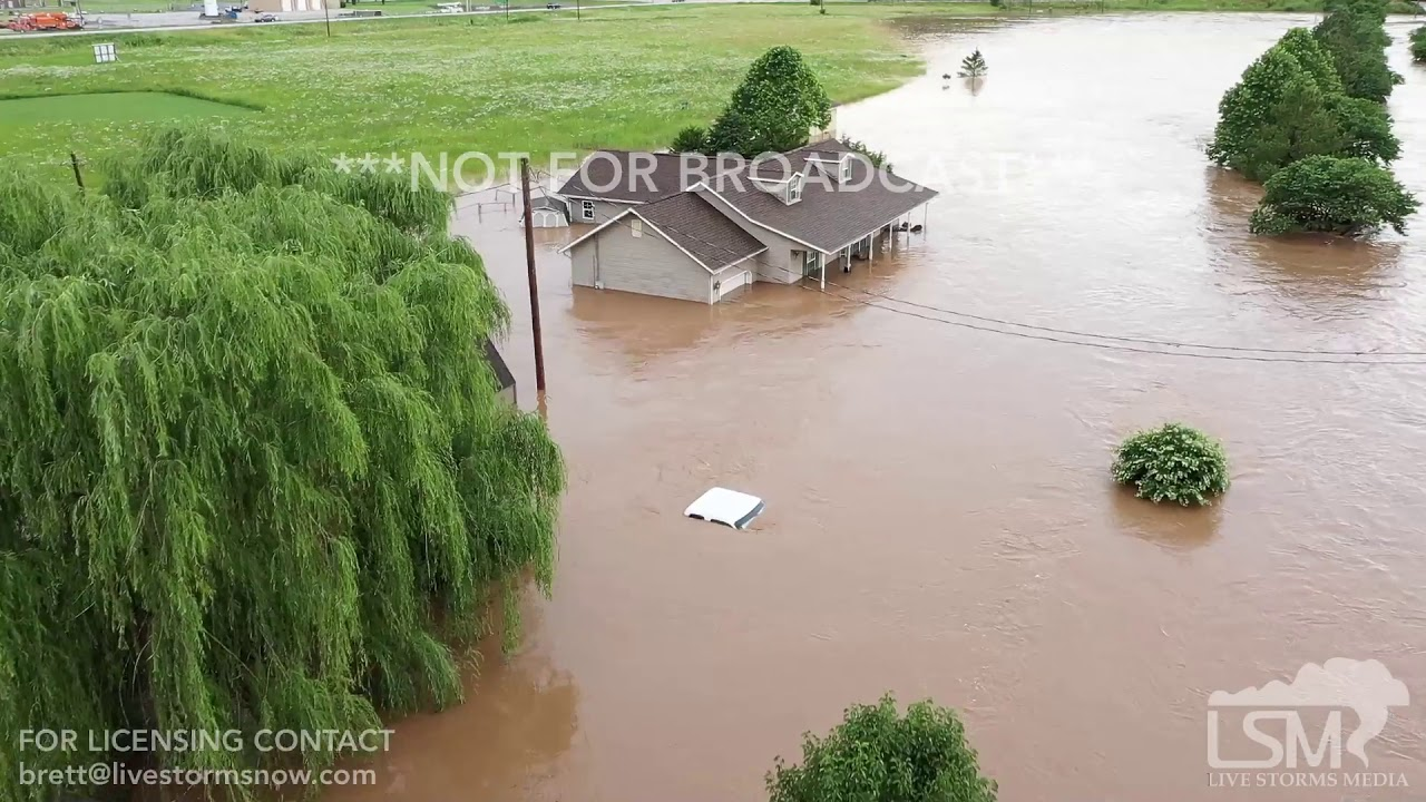 06-23-19 Anderson MO flooding B-roll with drone
