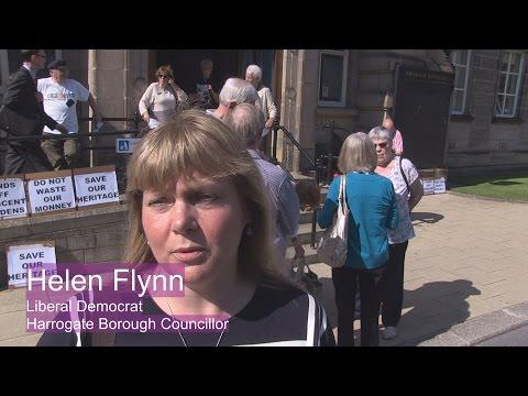 Protest against Harrogate Borough Council Office build - Helen Flynn Libdem