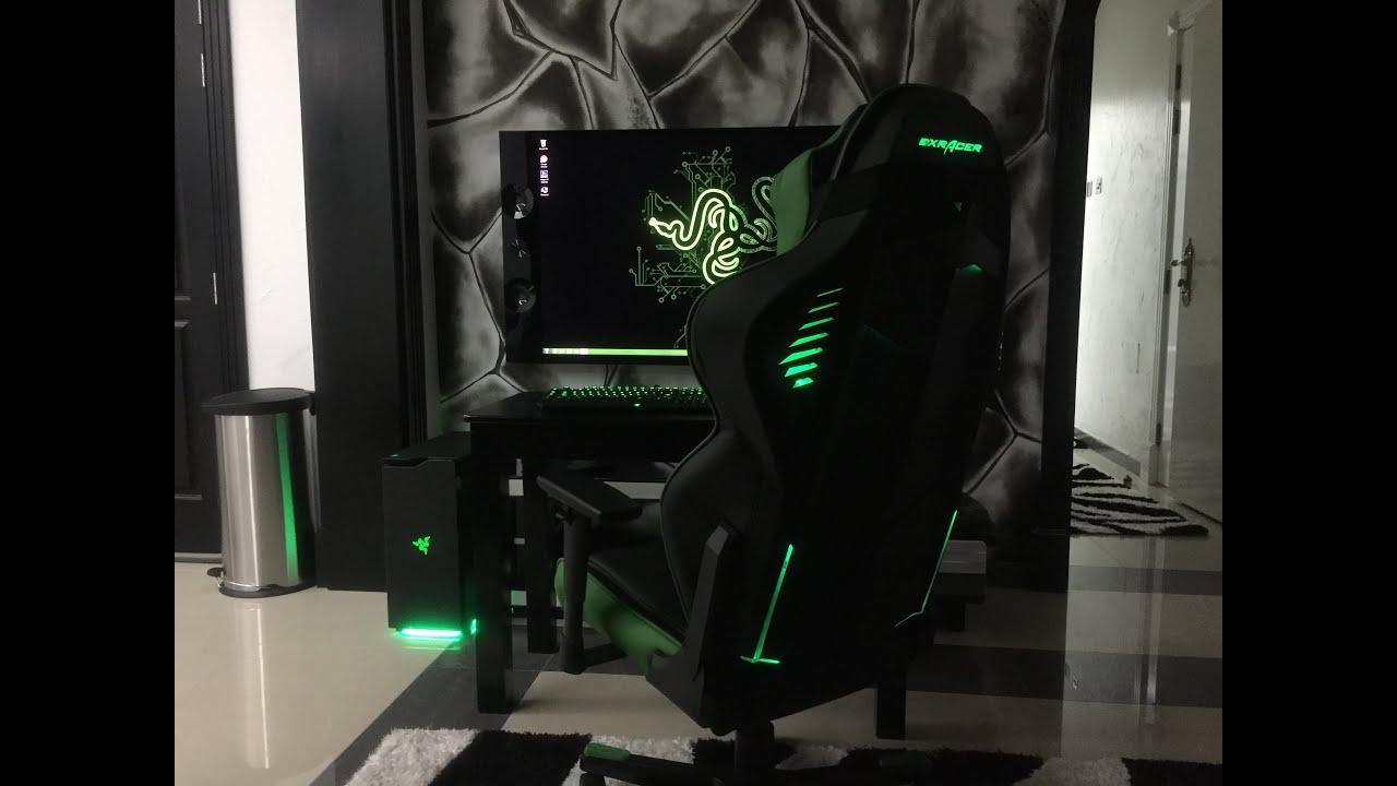 LEDxRacer Black  Green Chair  YouTube