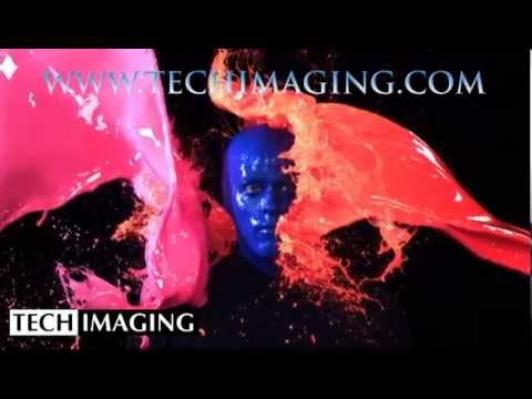 High Speed Camera Video - Blueman getting hit by paint