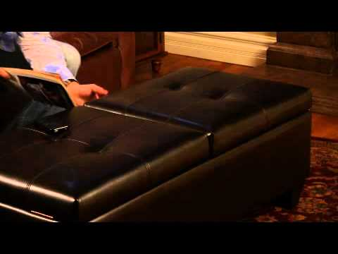 Braswell Bonded Leather Storage Ottoman & Braswell Bonded Leather Storage Ottoman - YouTube