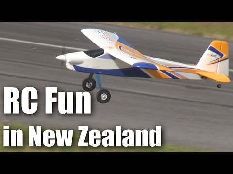 RC plane flying (and crashing) on an New Zealand summer's day