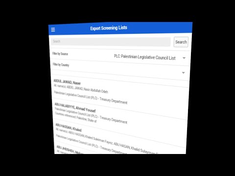 Learn About the Export Screening App: The Palestinian Legislative Council List