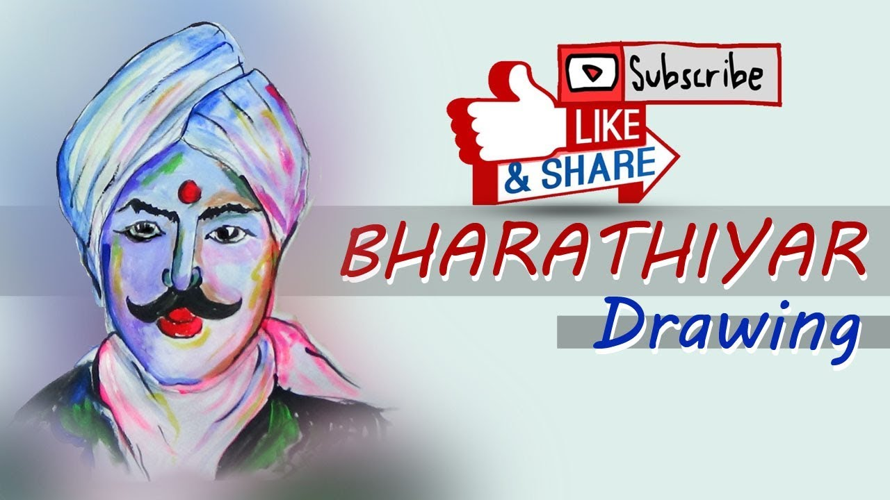 How to draw maha kavi bharathiyar easy step by step rex drawing web tv