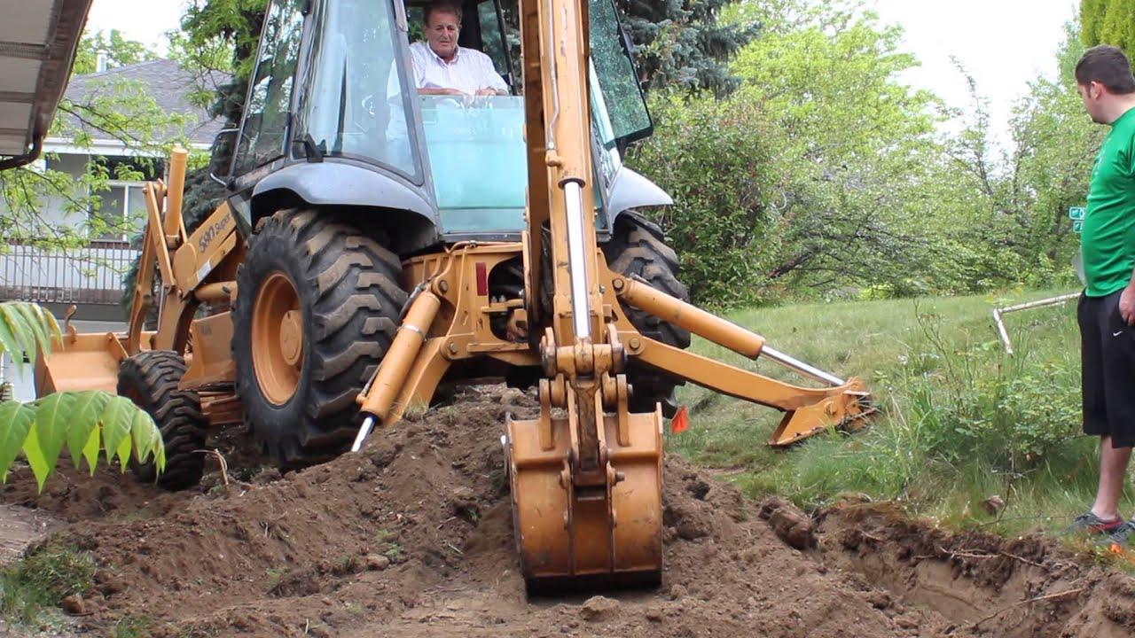 backhoe landscaping job
