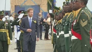 Prince Harry is welcomed to Barbados to celebrate the country's 50th anniversary