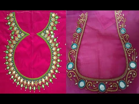 Latest  Embroidered Mirror Work Blouse Neck Designs For Girls | Aari Mirror Work | Thread Embroidery