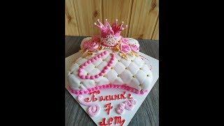 Торт для принцессы.Как сделать корону из мастики. Торт для девочки.Юлия Клочкова.