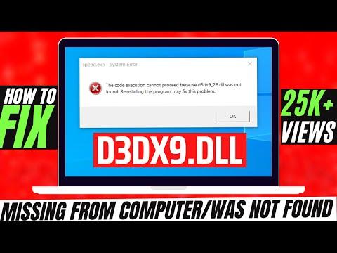 ✓✓✓ How To Fix d3dx9.dll Missing Error Windows 10/8.1/7