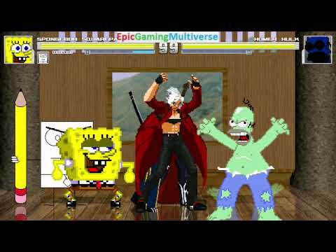 Devil May Cry Characters And DoodleBob And SpongeBob VS Homer Hulk In A MUGEN Match / Battle / Fight