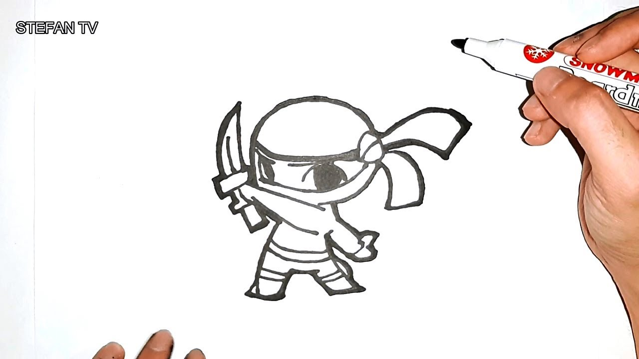 How to draw ninja cute and easy for kids ninja drawing lesson step by step