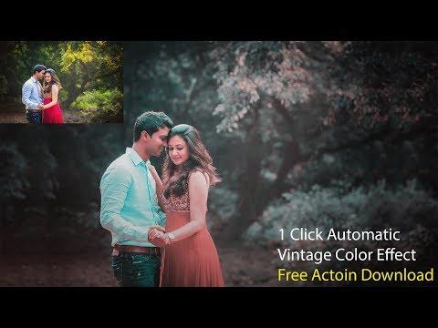 1 Click Automatic Vintage Color Effect | Soft Color Tone | ADOBE PHOTOSHOP CC TUTORIAL