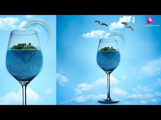 Glass Island - Photo Manipulation Tutorial In Photoshop - Photoshop CC
