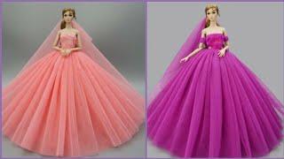 Barbie Elbise Yapımı | DIY | Dikişsiz kendin yap ~ 5 Dakikada hallet | Barbie Crafts