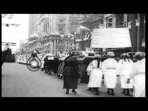 Liberty Bond drive: Military equipment of World War I displayed at a parade in Ph...HD Stock Footage