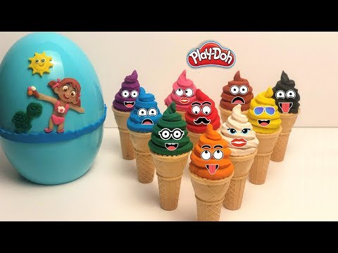 Learn Colors and Numbers with 10 Color Play Doh and Making ICE CREAM Surprise Egg TOYS LOL|Mini Mini