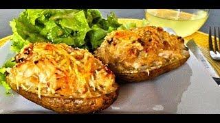 Картошка  с чесноком и сыром в духовке.Супер быстрый ужин.