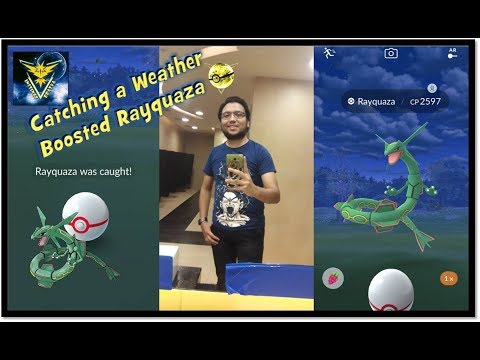 Catching a Weather Boosted Rayquaza in Pokemon Go and having a nice weekend