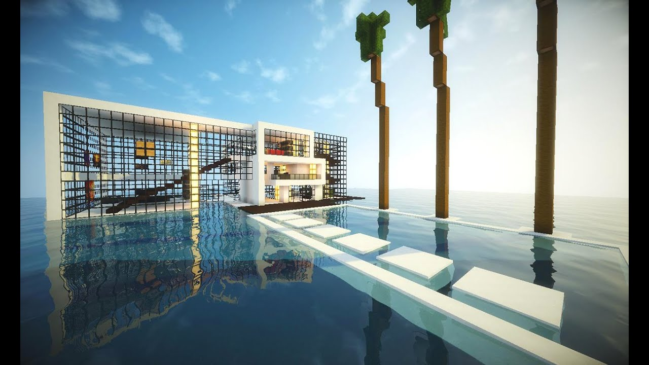 Minecraft casa moderna no mar pico e download shaders for Tutorial casa moderna grande minecraft