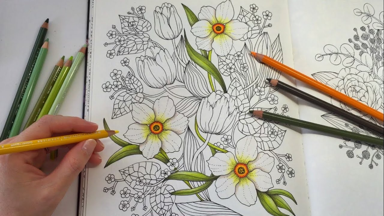 How I Color Daffodil Blomstermandala Coloring Book