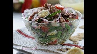 видео Салат из картофеля со спаржевой фасолью и каперсами