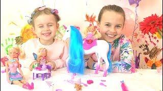 Новые куклы Игры для девочек! Кукла Штеффи и Единорог! Ксюша и Алиса распаковка новых наборов!
