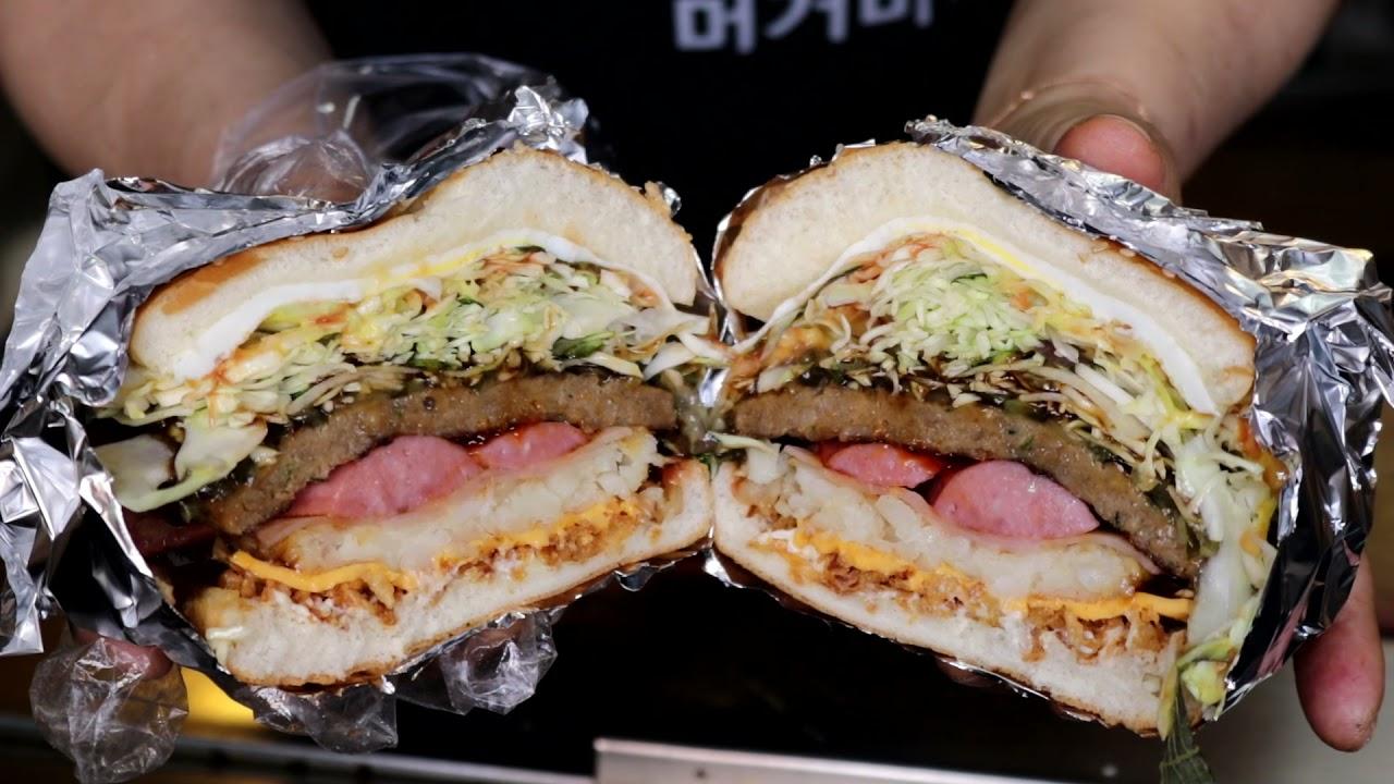 꽉꽉 채워 드려요 가성비 끝판왕 길거리 대왕 햄버거 '마시따 머거바' street giant hamburger, cheese burger, 'masidda Muguva'