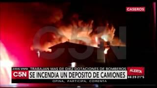 C5N - Sociedad: Incendio en un depósito de camiones en Caseros (Parte 1)
