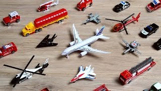 Learning Planes and Fighter Jet for Kids - Police Car Fire Truck Toys Tomica Collection