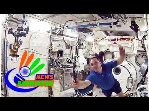 Astronauts play badminton to mark first sporting event in space