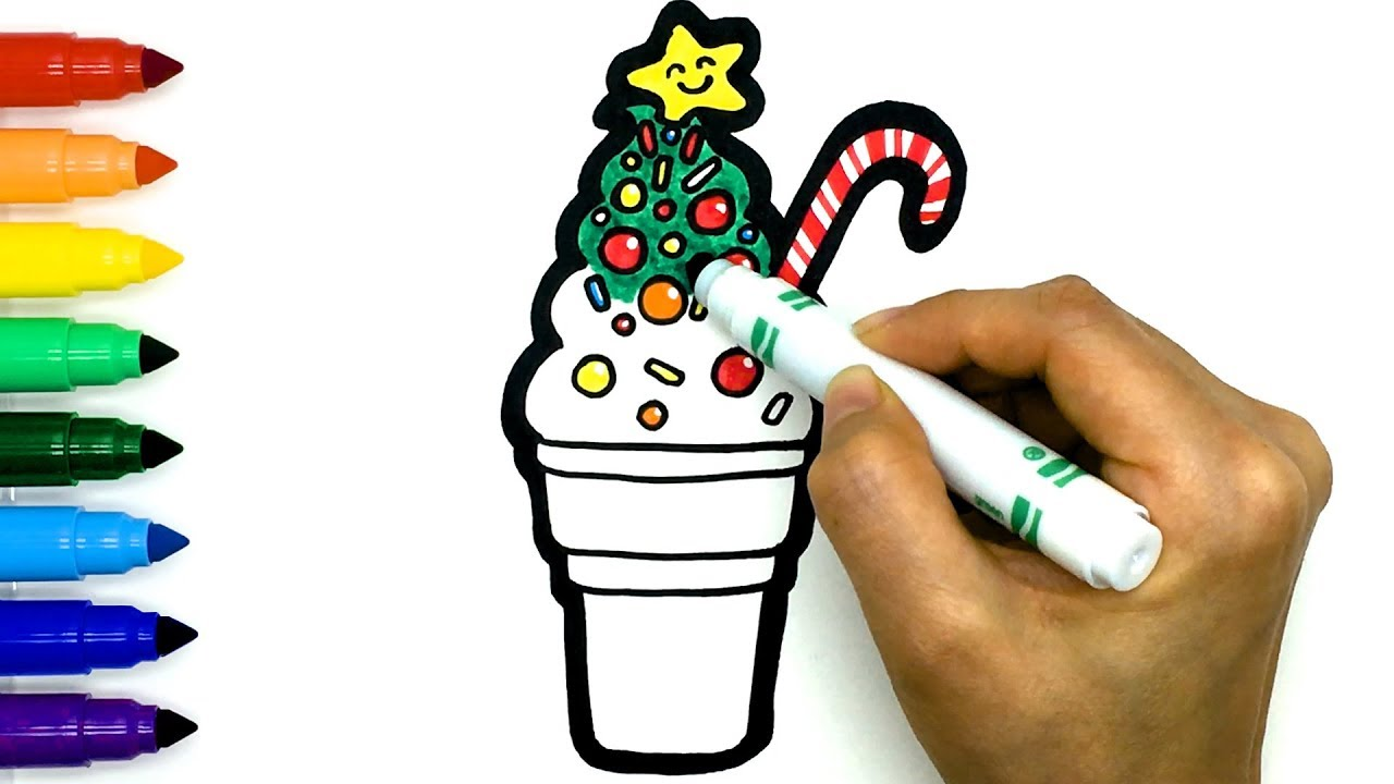 Christmas Tree Ice Cream Cone Drawing and Coloring Easy ...