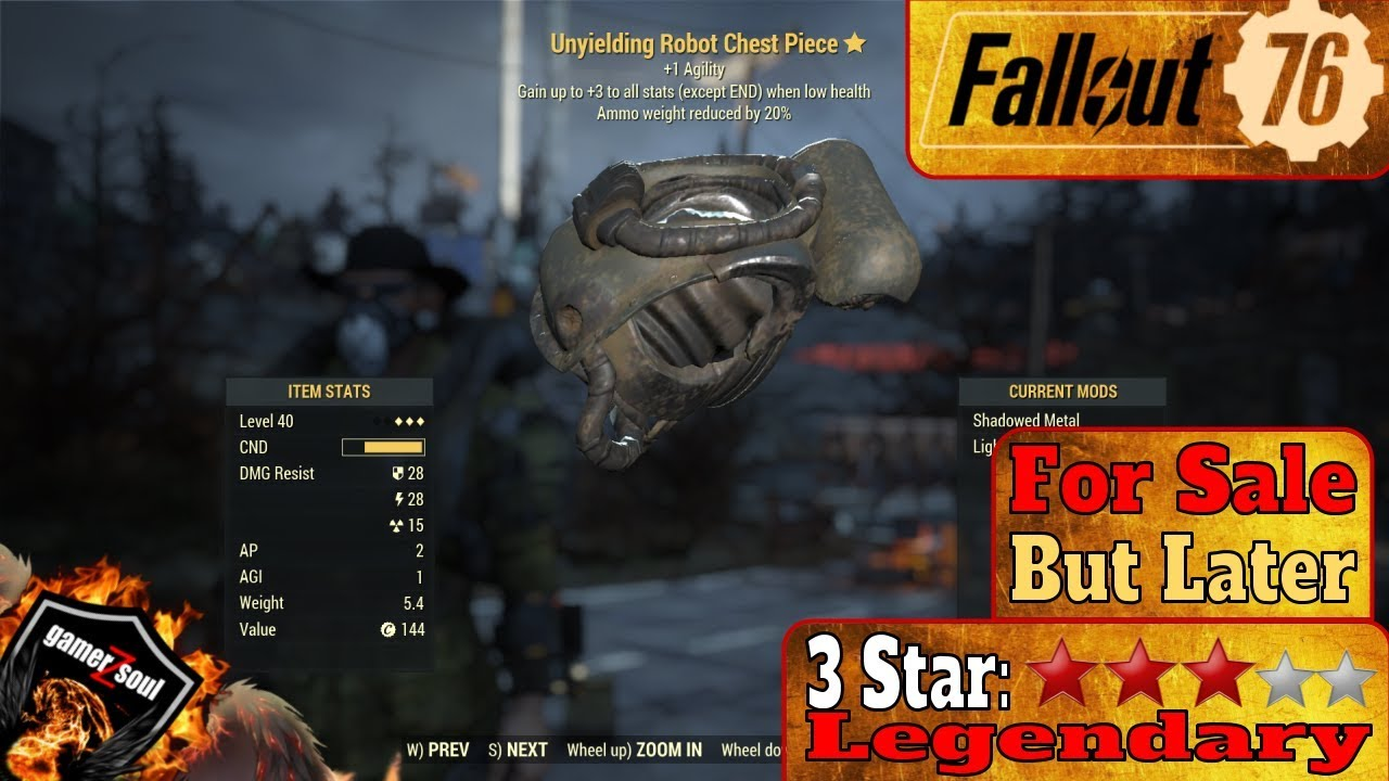 Fallout 76 PC [3 Stars Legendary Weapons and Armor] Unyielding Robot Chest  Piece #Fallout76