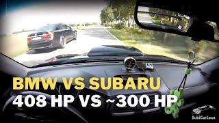 Subaru Impreza WRX STi 2l (265 hp) Stock vs BMW 750i F01 4.4l (408-450 hp) Stock