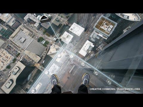 Willis Tower glass bottom observation deck shatters; 1,000 ft high glass slide - Compilation