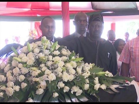 Raila Odinga warmly received at the funeral service of Gachagua