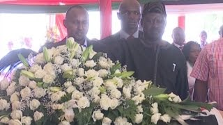 Raila Odinga warmly received at the funeral service of Gachagua