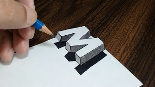 Very Easy !! How To Draw 3D Floating Letter 'M' - Anamorphic Illusion On Paper