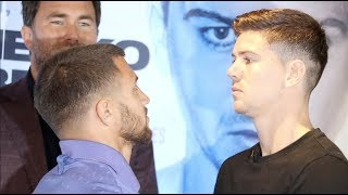 INTENSE! - VASYL LOMACHENKO v LUKE CAMPBELL (OFFICIAL) HEAD-TO-HEAD @ PRESS CONFERENCE / AUG 31 / o2
