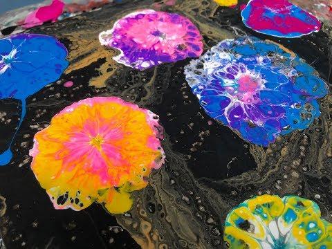 Acrylic Pour Painting: Floating Flowers - Blown Puddle Technique