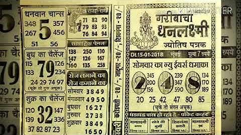 GARIBANCHI BHAGYALAXMI CHART  भाग्यलक्ष्मी चार्ट