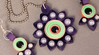 Paper Quilling Craft Tutorial # 5 - Beautiful Pendant Design Making @ ekunji.com