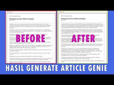 HARUS TAHU! INILAH HASIL GENERATE ARTICLE GENIE
