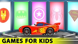 Lightning McQueen and Spiderman Cars Cartoon for Kids with Fun Race Learn Colors for Children