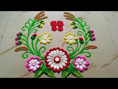 Very Beautiful Rangoli Designs जो आप भी बना लेंगे || Muggulu Designs by Using bangles by Sangeeta–