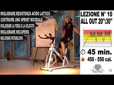 Spinning - allenamento indoor cycling ad alta intensità ALL OUT 20'':30'' Lez. n° 10