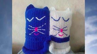 Подушка игрушка Влюблённые котики.  Вяжем крючком