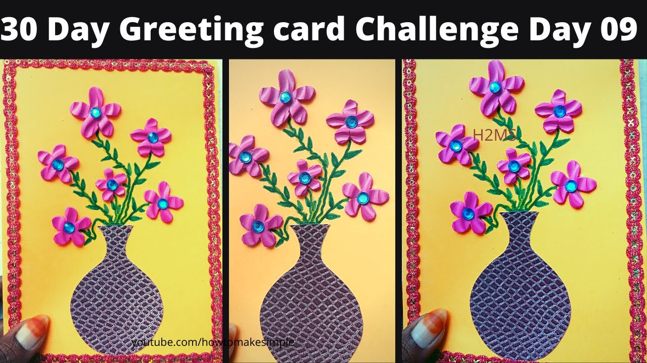 30 Day Greetingcard Challenge Day 09, @how to make simple Christmas/New Year 2021 vase Greeting Card