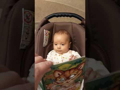 Трехмесячный малыш читает книгу