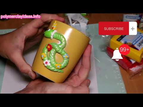 Polymer clay cartoon snake. Polymer clay tutorial on sculpting decor on a cup