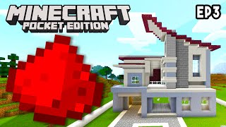 MCPE REDSTONE HOUSE EP3 - Building Up The House (Redstone House Tutorial)
